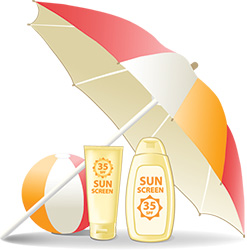 Sunscreen lotion and umbrella for Skin Protection